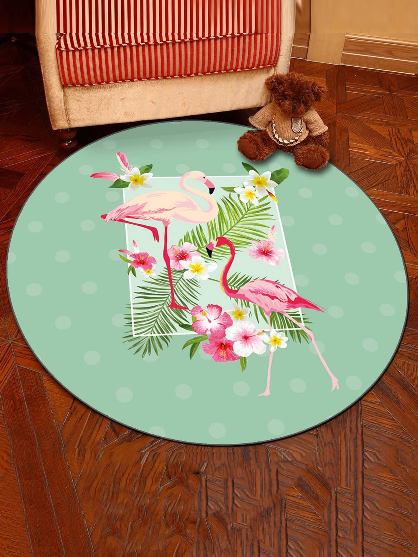 Flamingo & Tropical Print Round Mat все цены