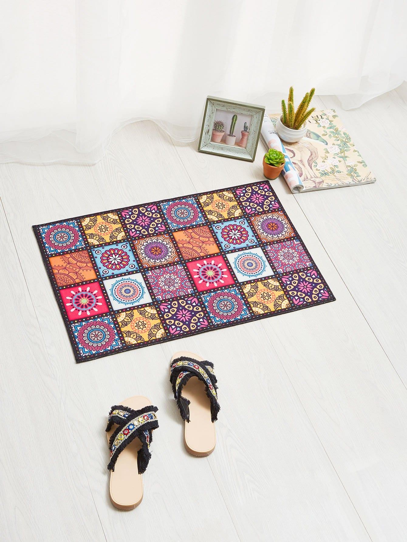 Flower Patchwork Door Mat patchwork door mat
