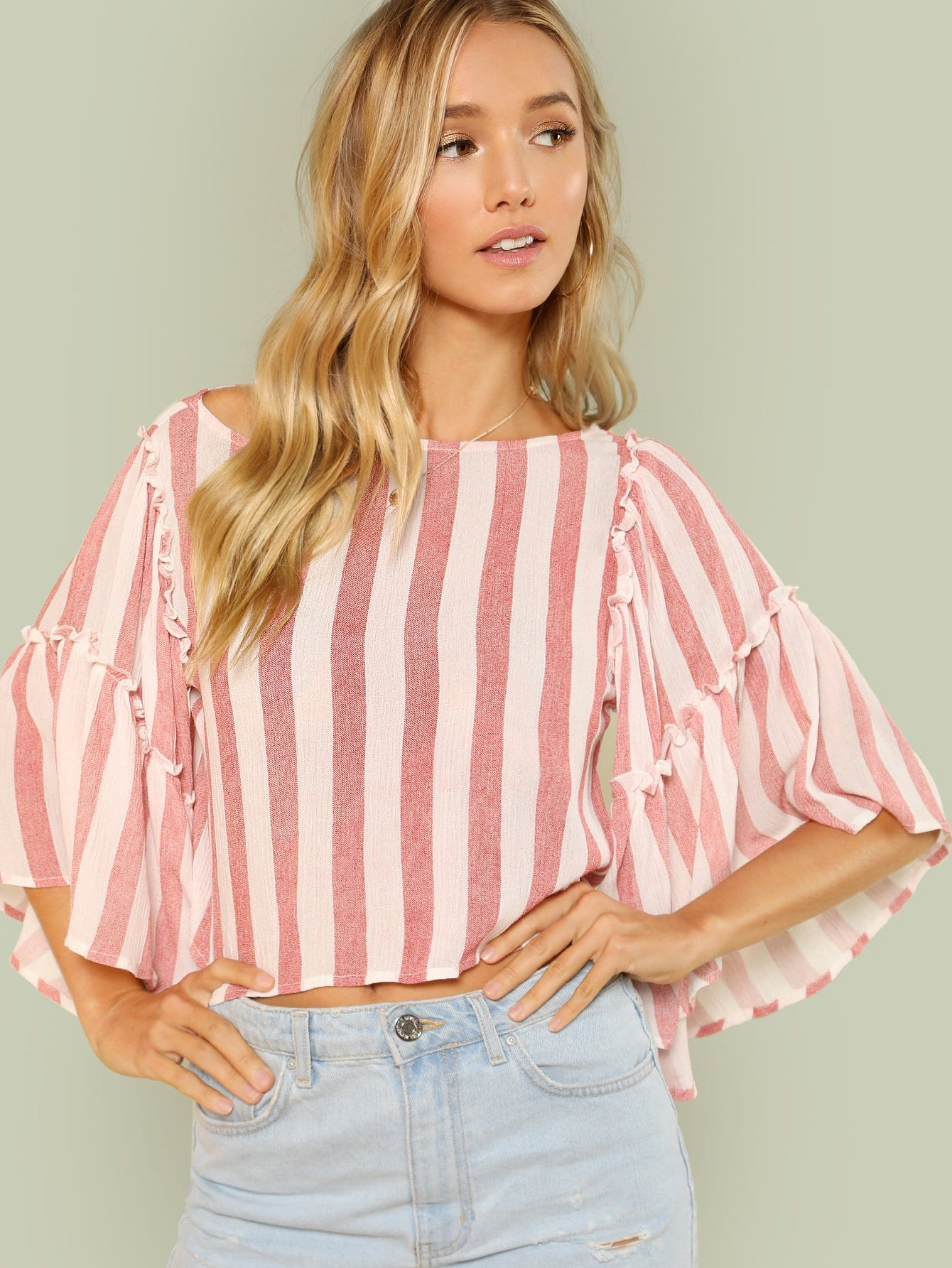 Exaggerated Trumpet Sleeve Striped Blouse elegant trumpet sleeve open back blouse