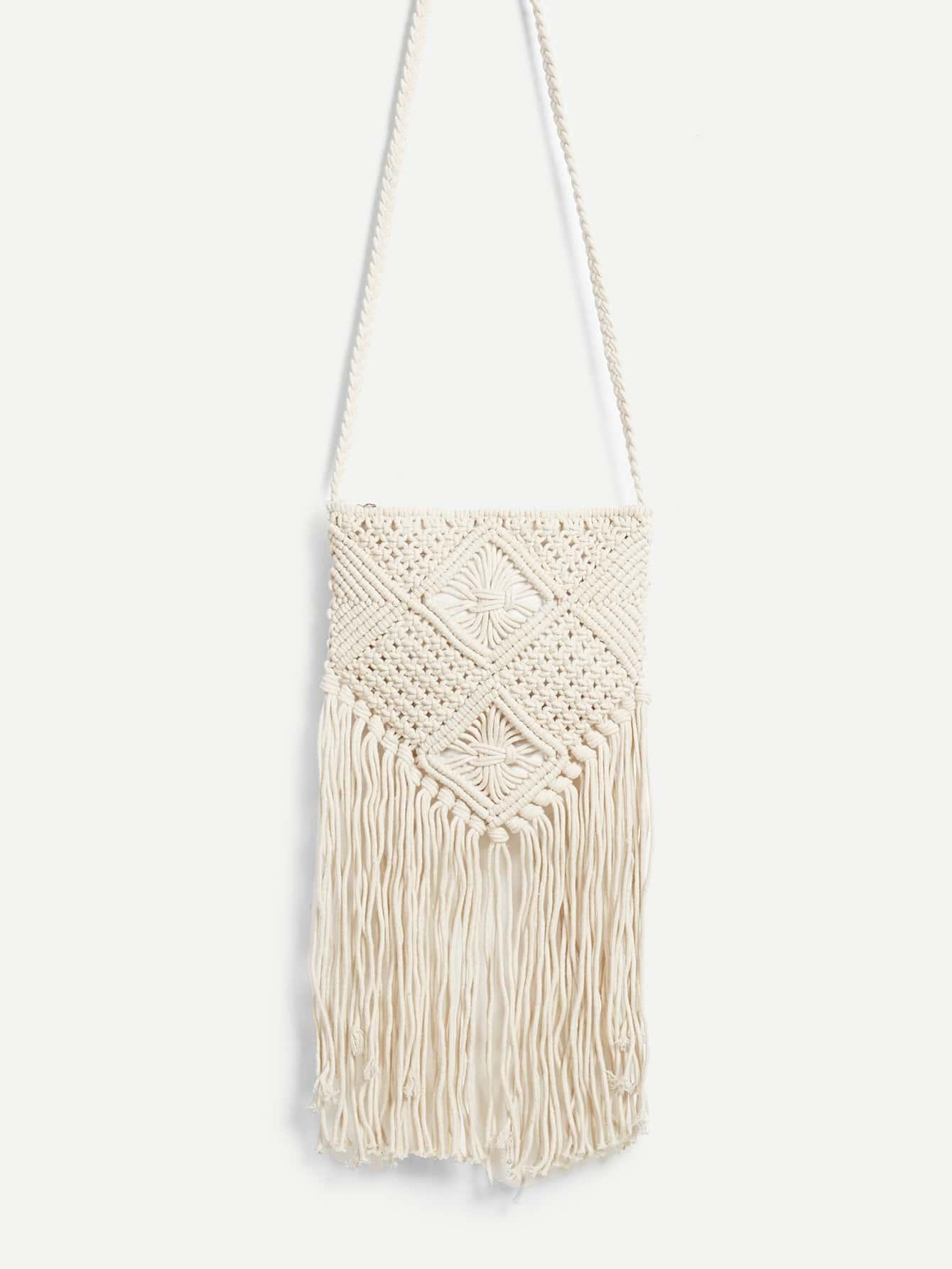 Fringe Tassel Design Crossbody Bag