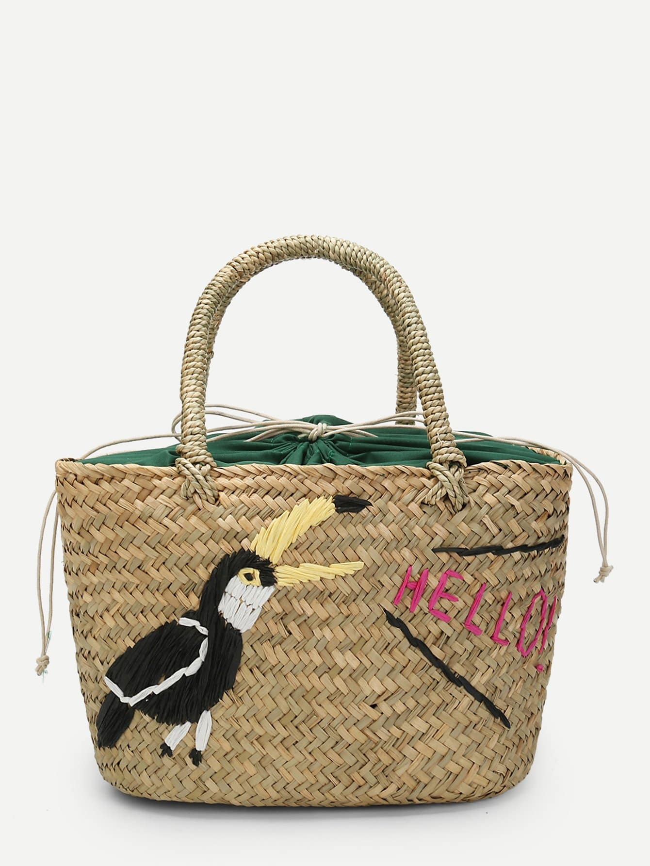 Bird Pattern Woven Tote Bag bow decor flower woven tote bag
