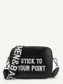 Embroidered Letter Crossbody Bag