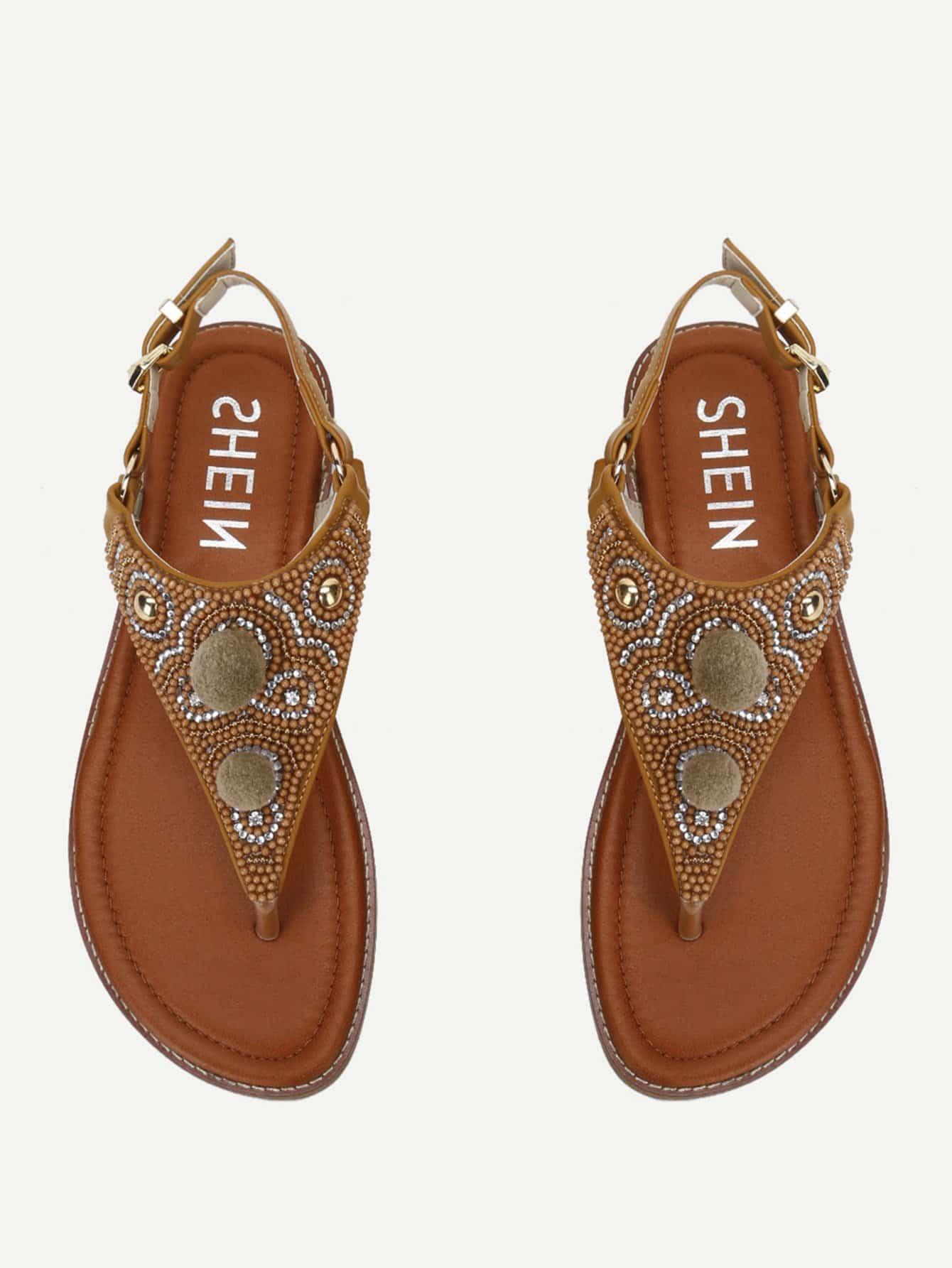 Rhinestone Design Toe Post Sandals rhinestone design toe post sandals