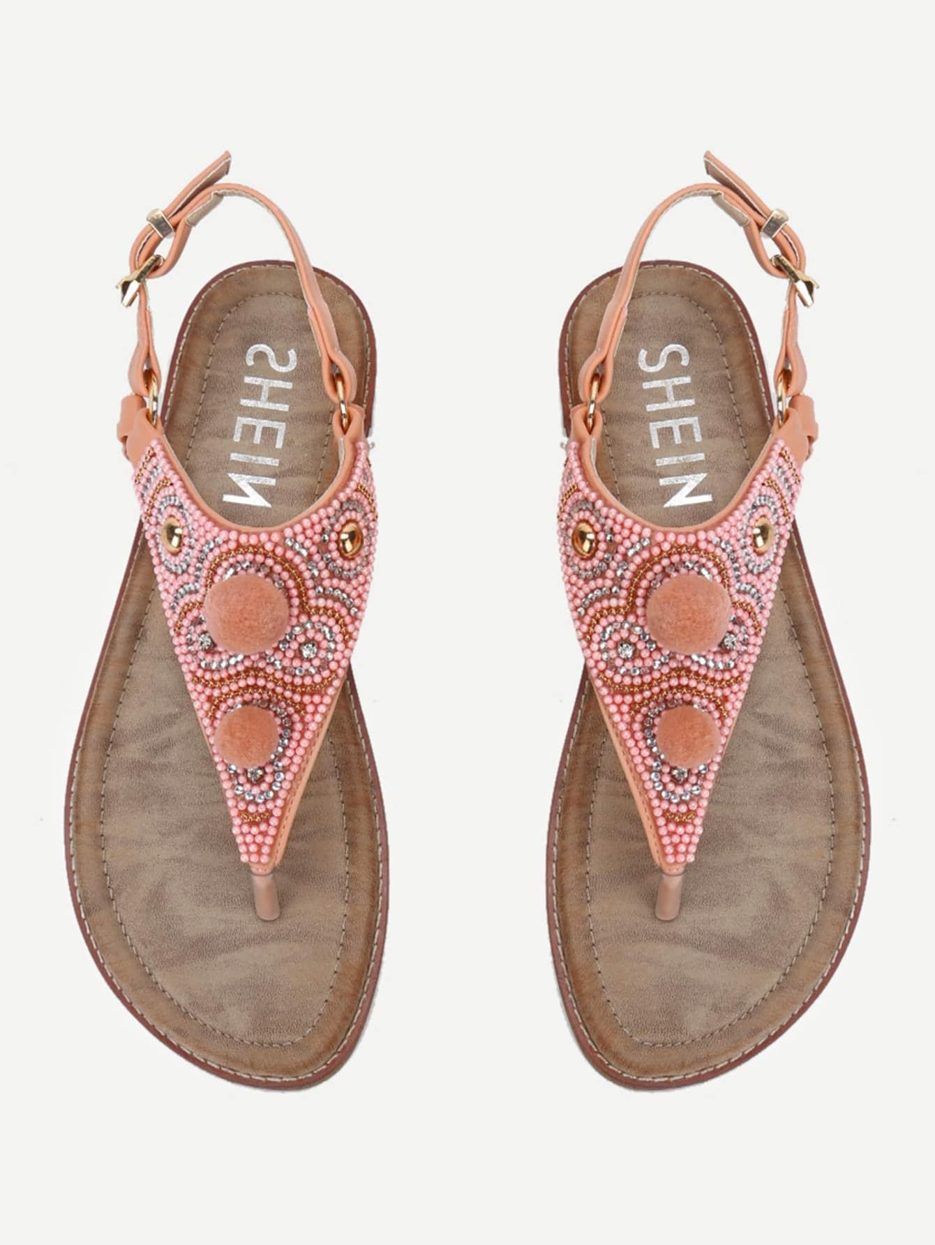 Pom Pom Design Toe Post Sandals rhinestone design toe post sandals