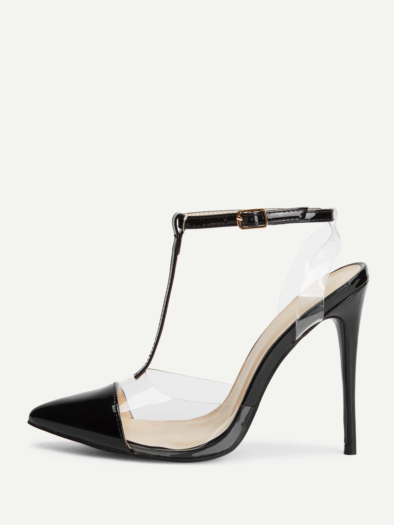 Cap Toe Clear Panel High Heels