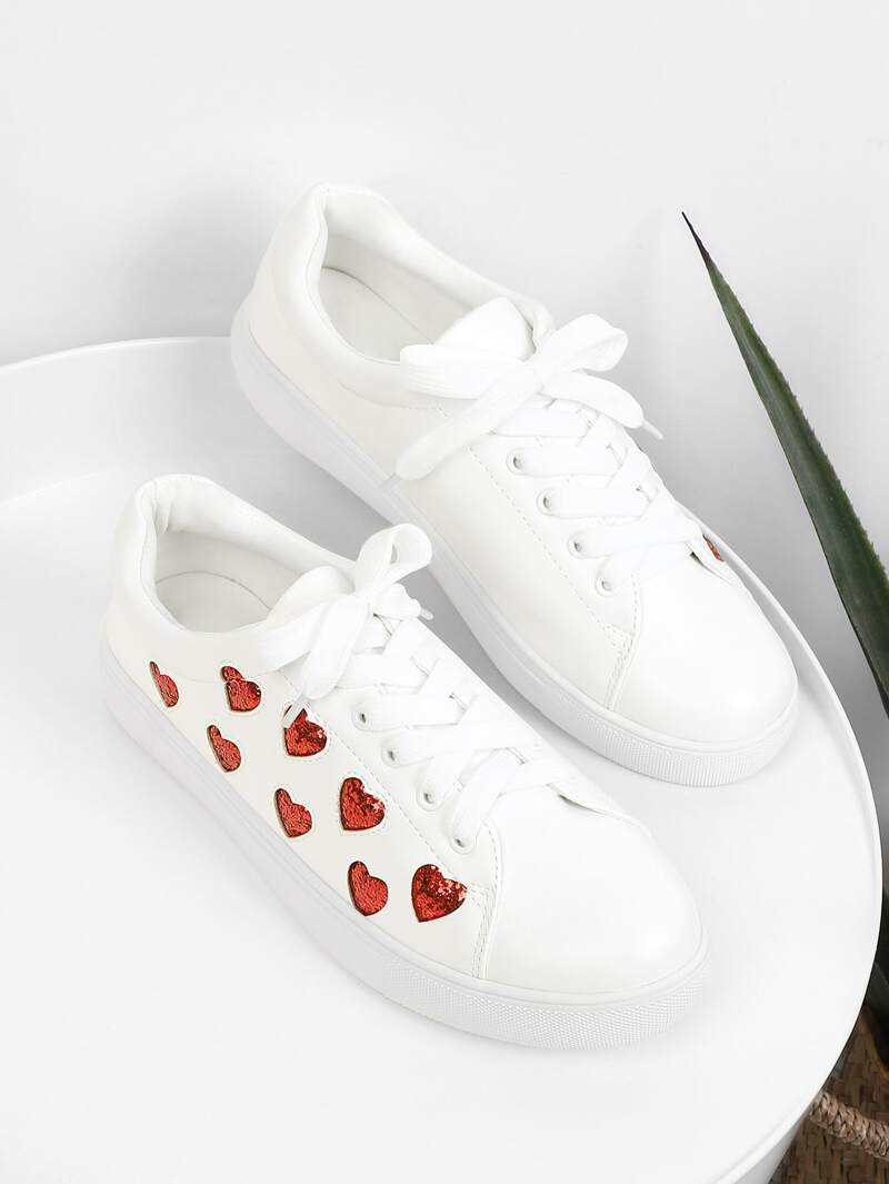 Heart Pattern Lace Up Sneakers, White