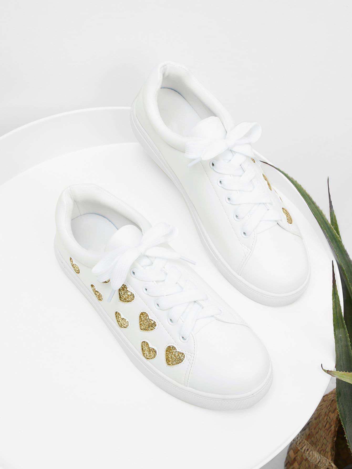 Heart Pattern Lace Up Sneakers gipfel кофейник с поршнем glacier calcutta 350 мл