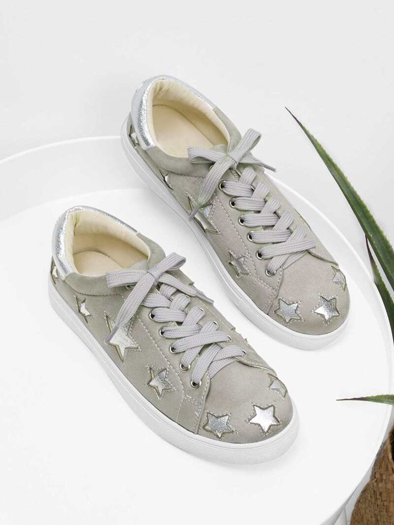 Star Pattern Lace Up Sneakers, Grey