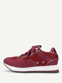 Grommet Detail Lace Up Sneakers