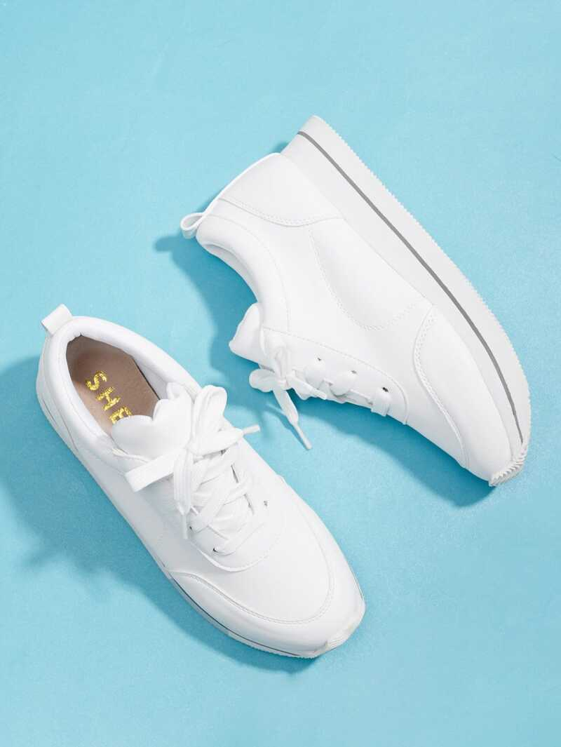 Lace Up Low Top Sneakers, White