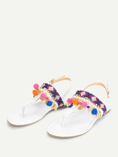 Romwe / Pom Pom Decorated Toe Post Flat Sandals