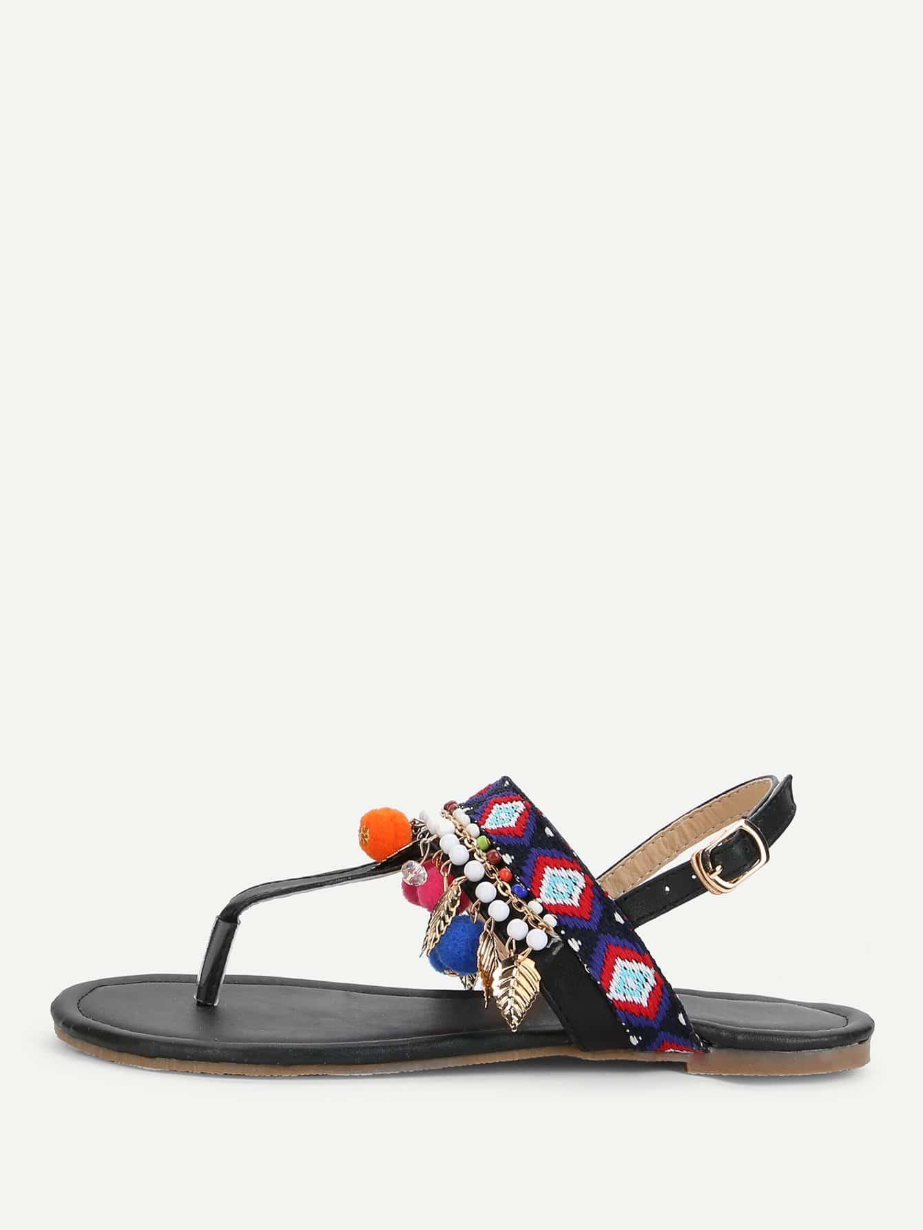 Pom Pom Decorated Toe Post Flat Sandals rose decorated toe post flat sandals