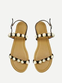 Faux Pearl Decorated Strappy Flat Sandals