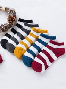 Striped Design Ankle Socks 5Pairs