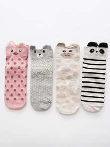 Striped & Dot Print Ankle Socks 4Pairs