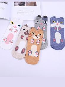 Cartoon Design Ankle Socks 4Pairs With Ear