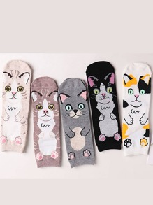 Cat Pattern Ankle Socks 5Pairs