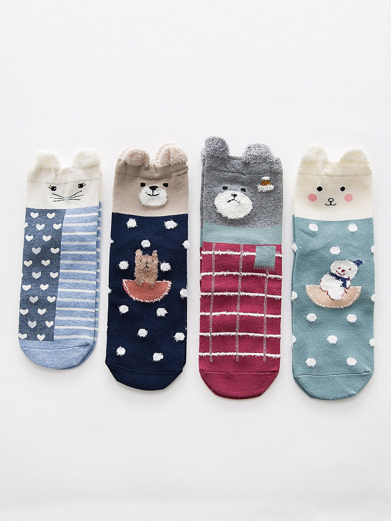 Heart & Dot Pattern Ankle Socks 4Pairs цена и фото