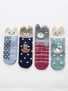 Heart & Dot Pattern Ankle Socks 4Pairs
