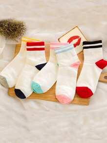 Striped Trim Ankle Socks 5Pairs