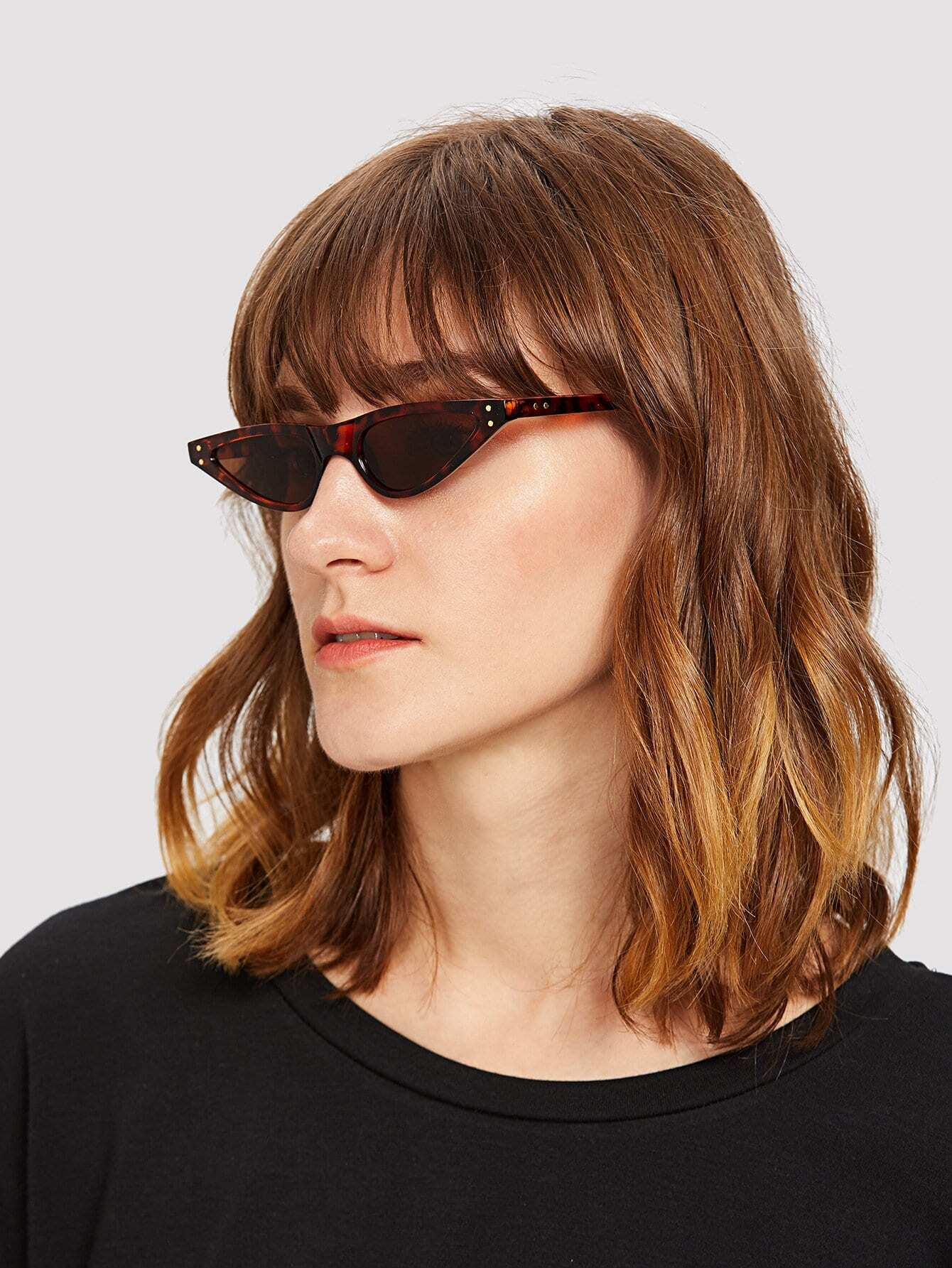 Cat Eye Flat Lens Sunglasses cat eye glasses tinize 2015 tr90 5832