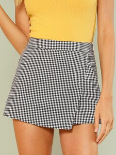 Overlap Front Plaid Shorts