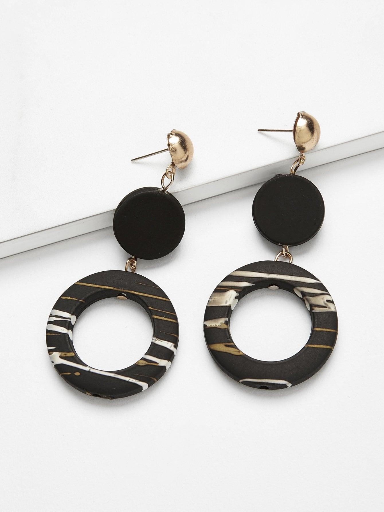 Disc & Ring Design Drop Earrings open irregular ring design earrings