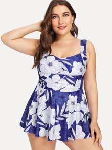 Flower Print Swim Dress