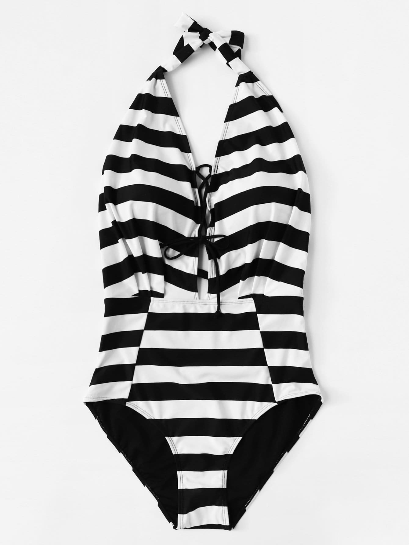 Lace-Up Striped Swimsuit contrast lace striped swimsuit
