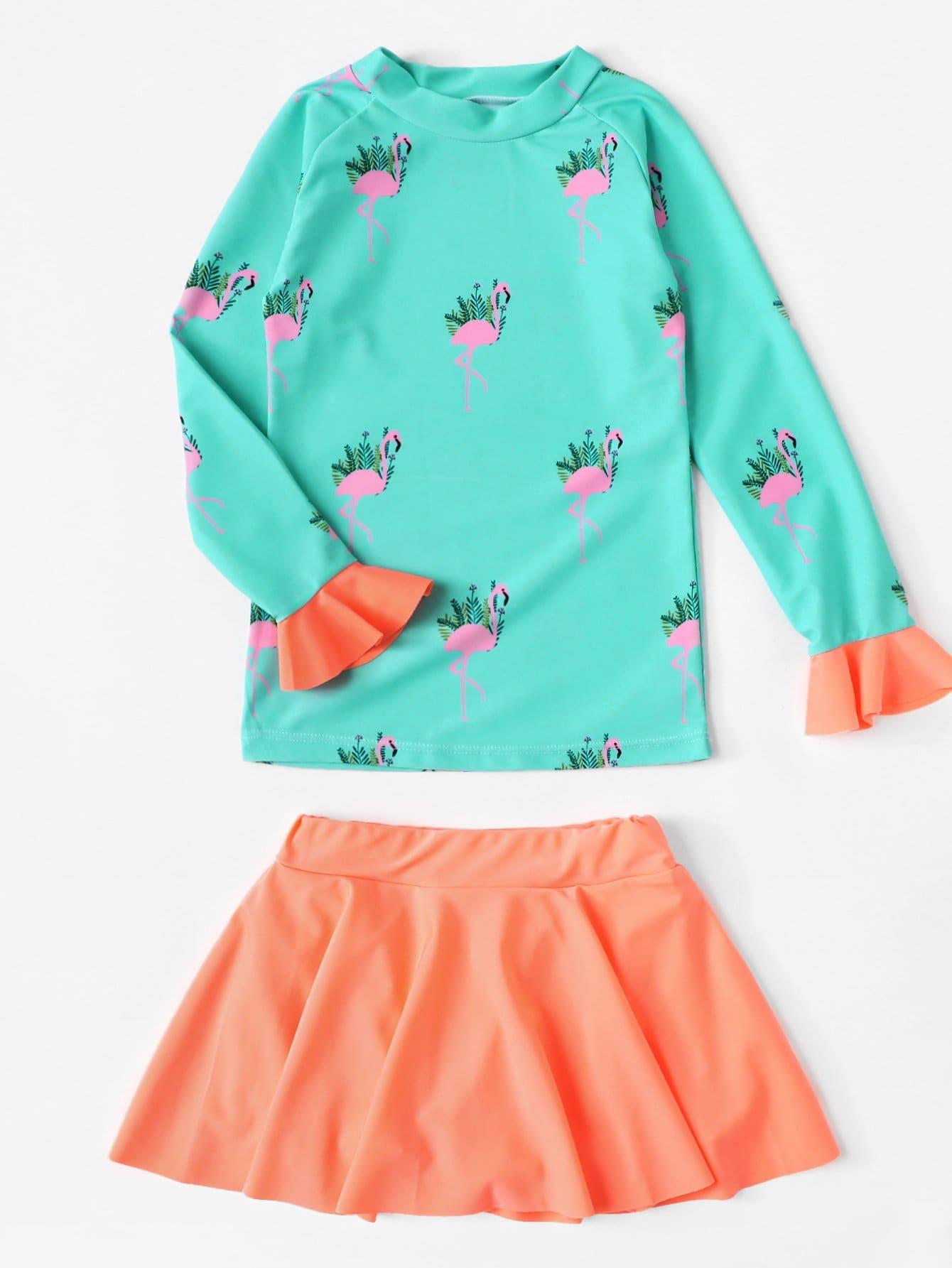 Девочки Фламинго Печати Два Кусок Купальники