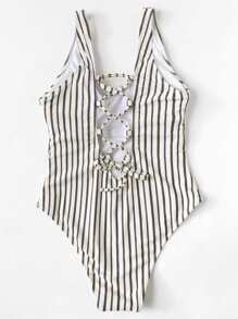 Striped Lace-Up Swimsuit