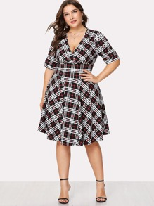 Plus Deep V Neckline Checked Dress