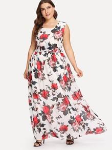Plus Floral Print Long Dress