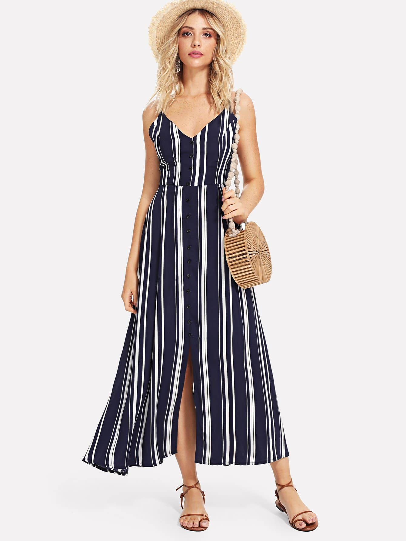 Cut Out Knot Back Striped Dress