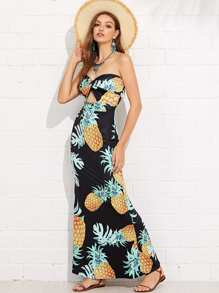 Cut Out Front Printed Tube Dress