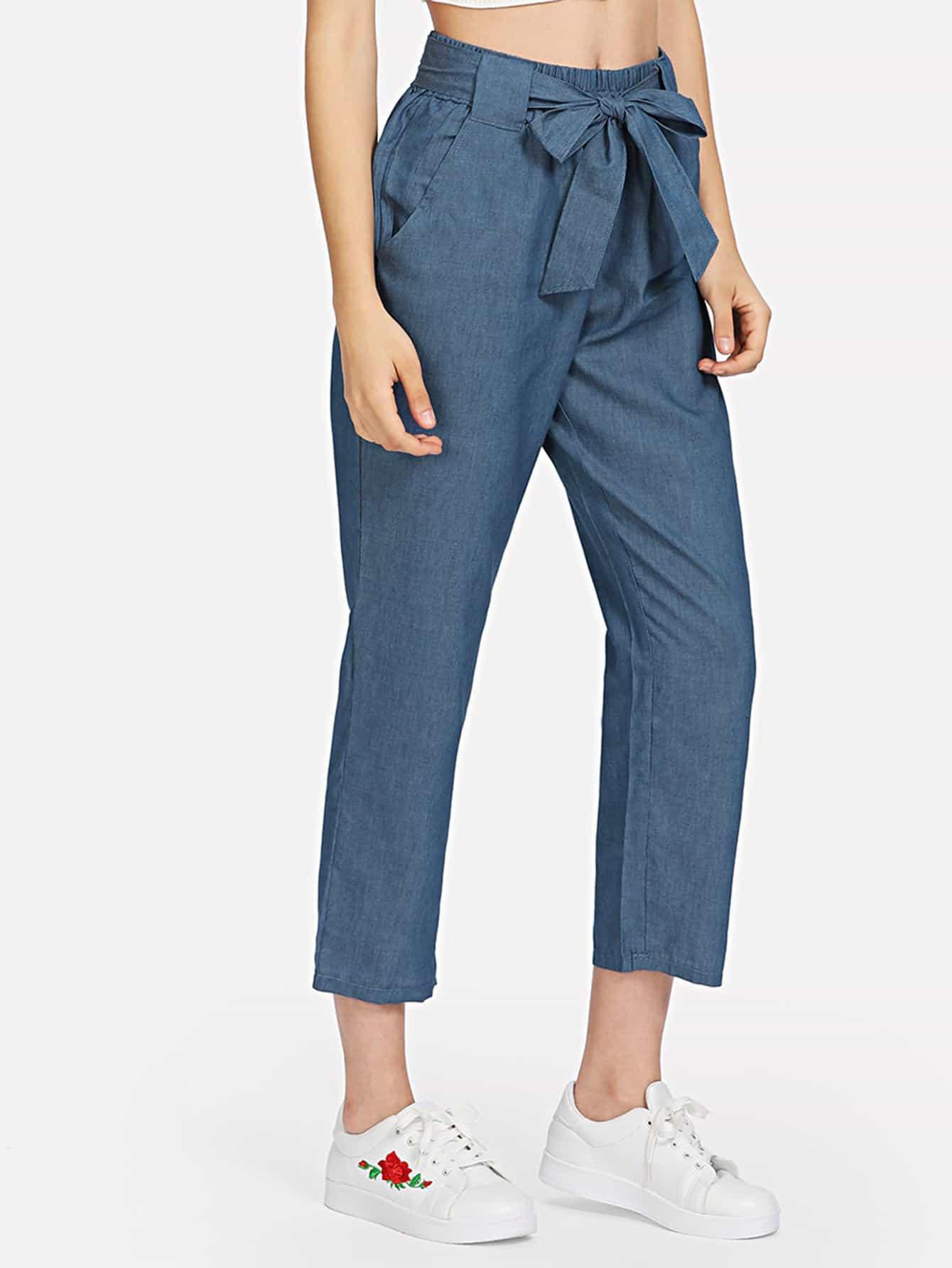 Self Tie Waist Jeans tie waist seam front jeans