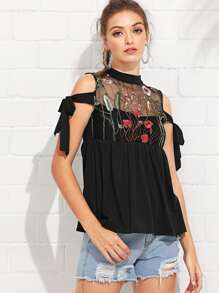 Sheer Mesh Panel Embroidered Tee