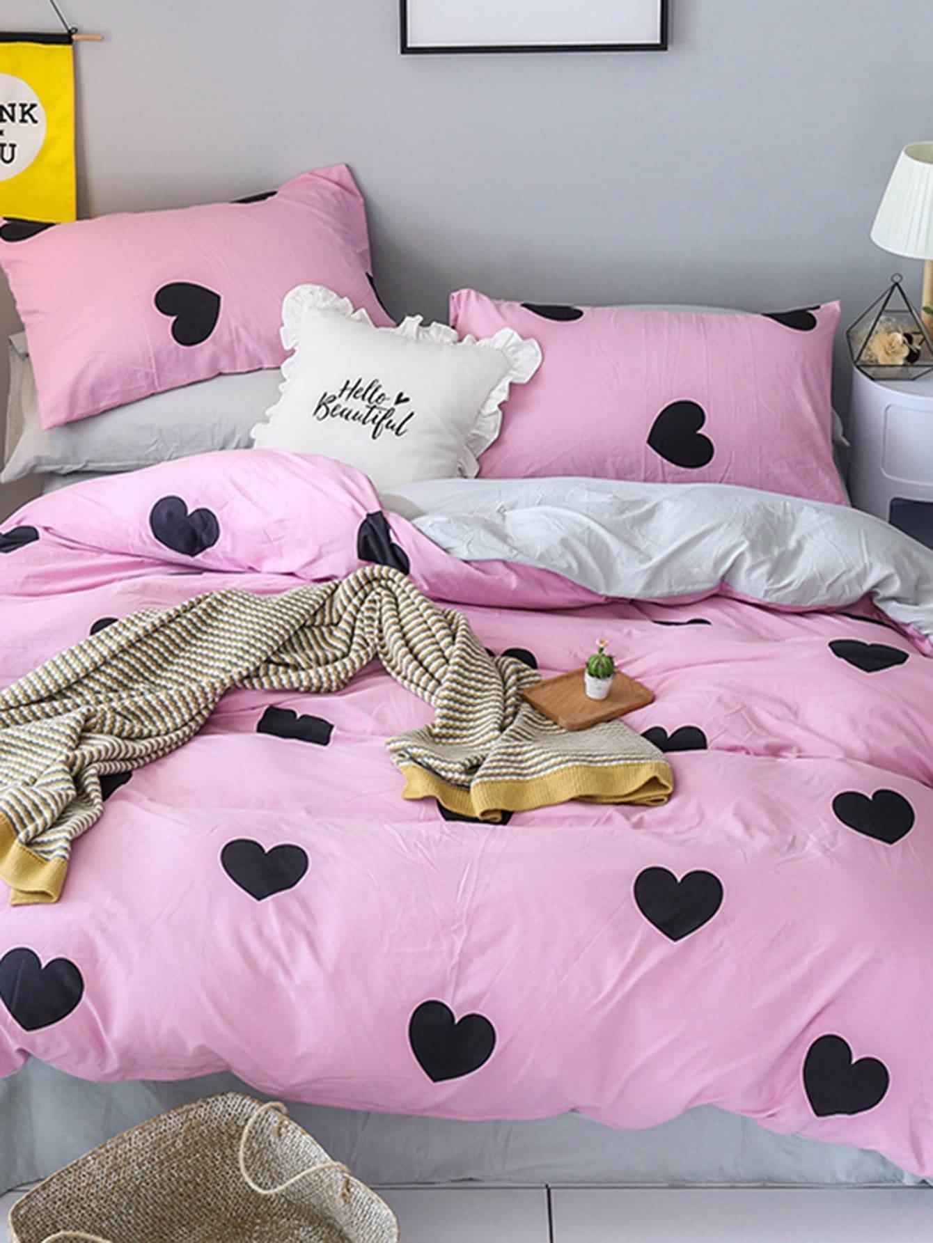 Комплект постельного белья с надписью и сердце, null, SheIn  - купить со скидкой