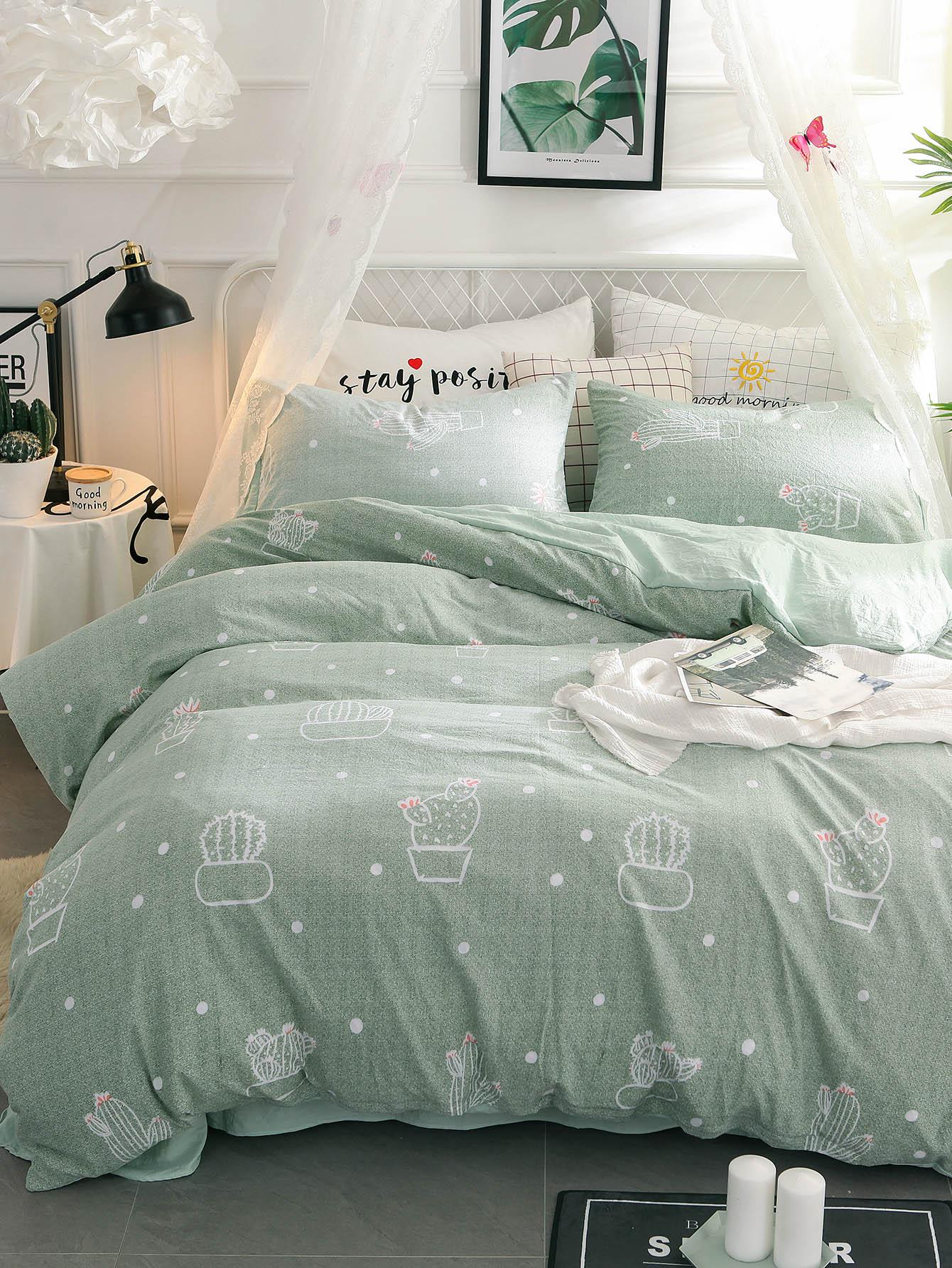 Купить Комплект постельного белья с надписью и растения, null, SheIn