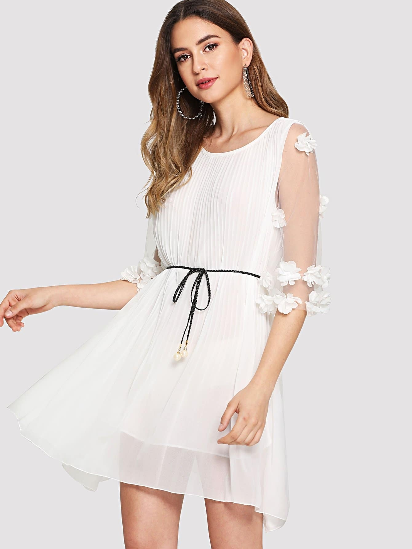 Pleated Contrast Lace Sleeve Sheer Dress contrast collar lace applique pleated pinstripe dress