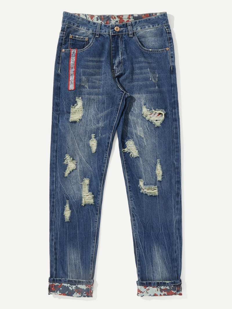 Men Distress Ripped Straight Jeans, Blue