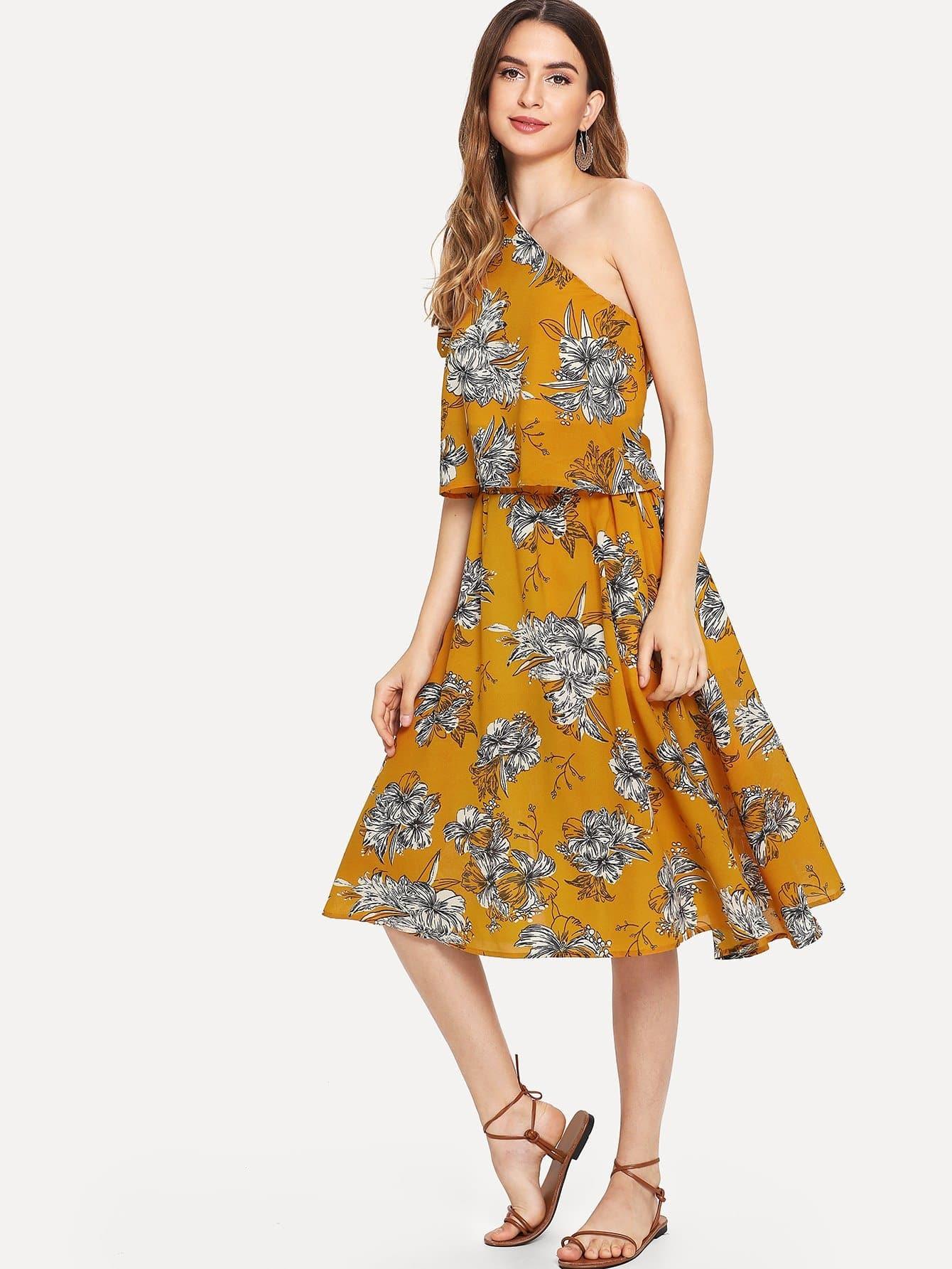 Купить Топ в цветочек с одним плечом и юбка с разрезами, Jana, SheIn