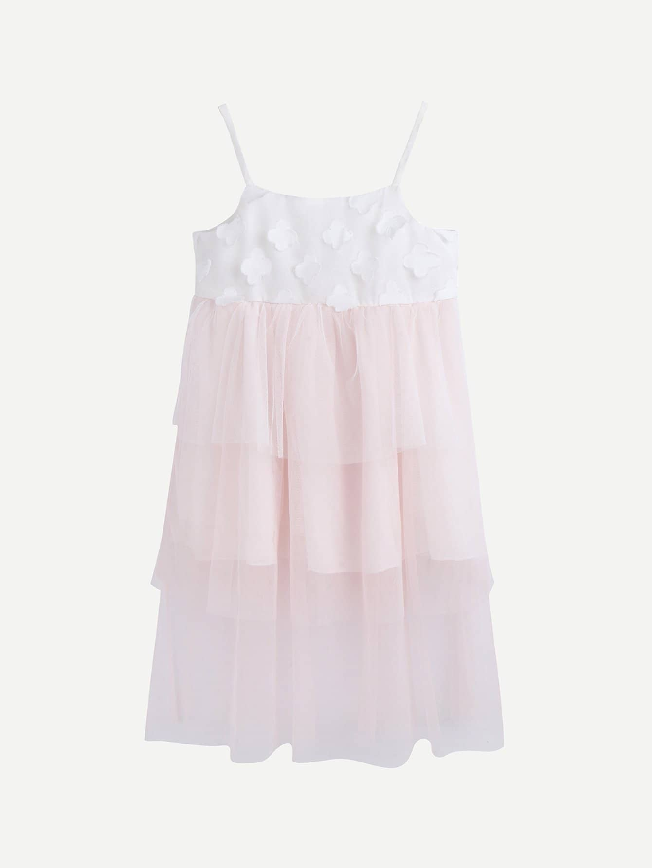 Kids Contrast Mesh Tiered Cami Dress swan print tiered mesh dress