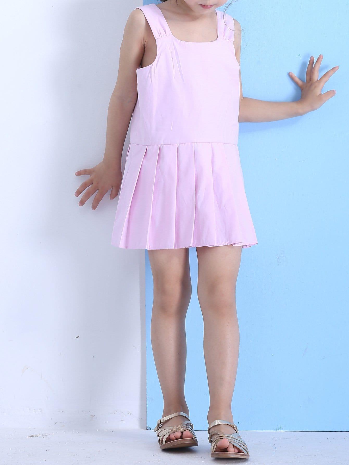 Kids Plain Box Pleated Tank Dress contrast mesh box pleated plain dress