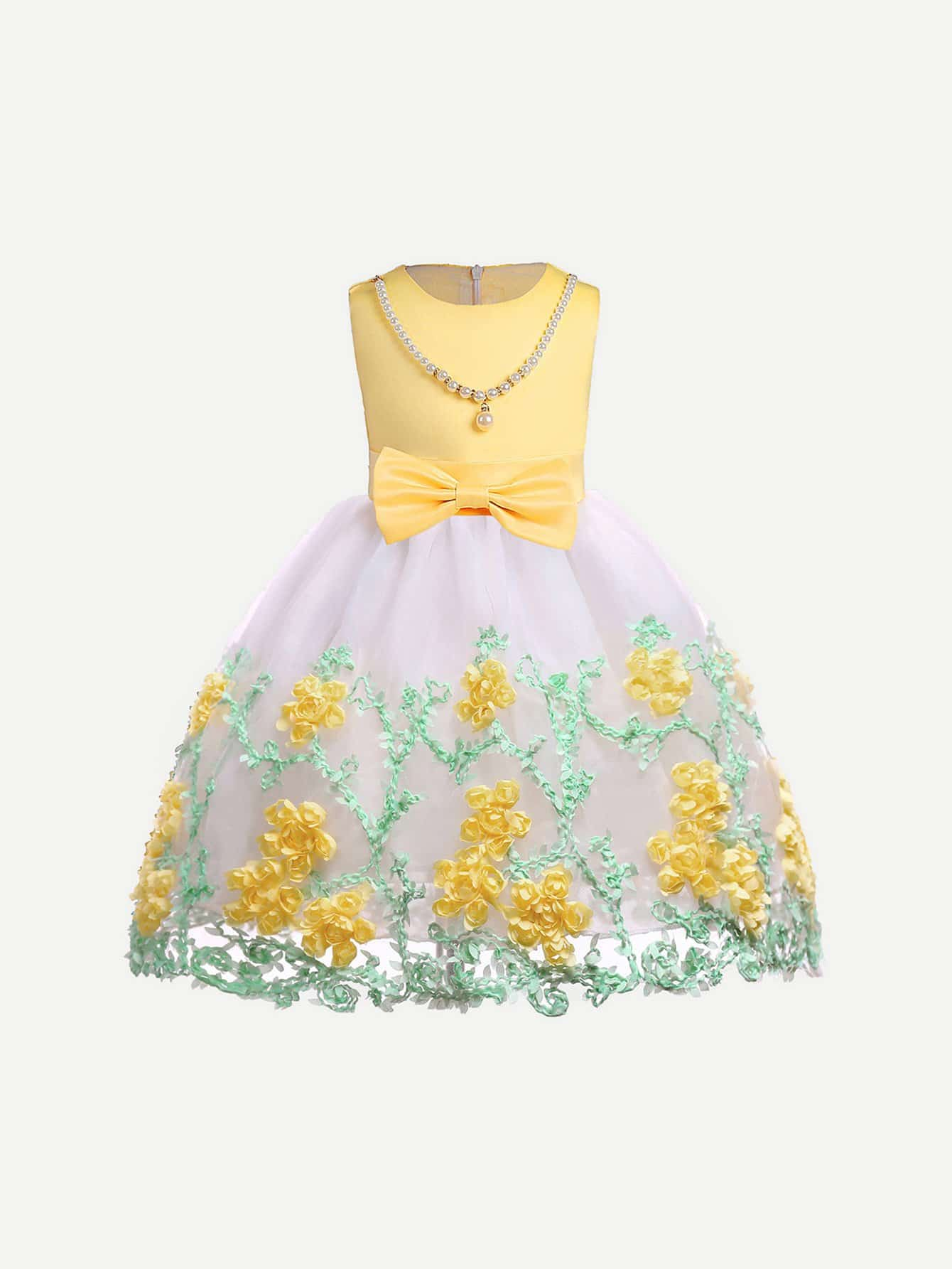 Girls Floral Embroidery Pearls Decoration Mesh Overlay Dress