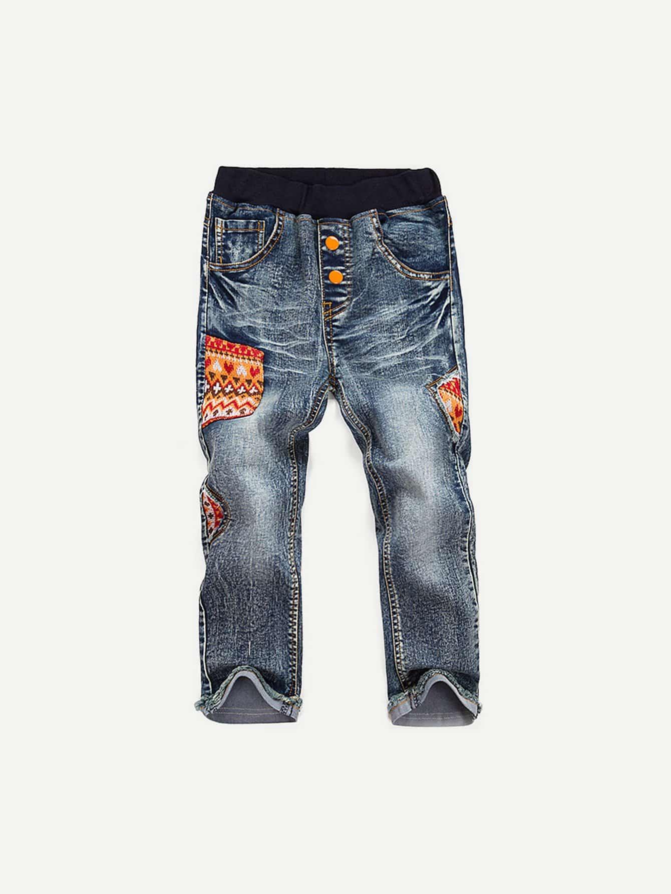 Купить Детские контрастные Изысканные печати Эластичные джинсы талии, null, SheIn