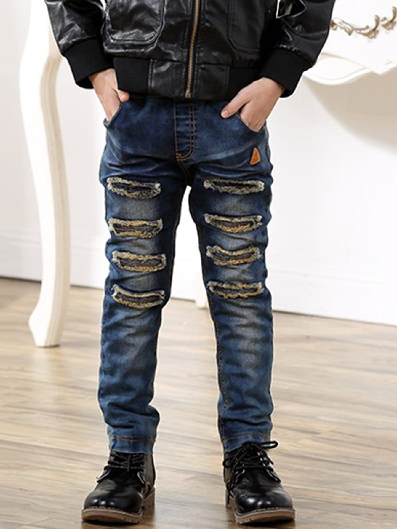 Kids Patched Decoration Destroyed Jeans patched embroidered jeans