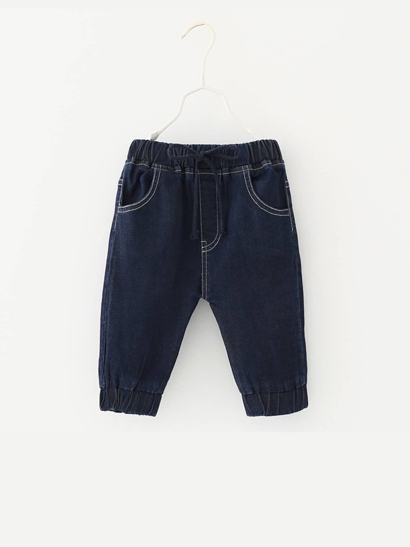 все цены на Kids Letter Print Pocket Back Denim Shorts