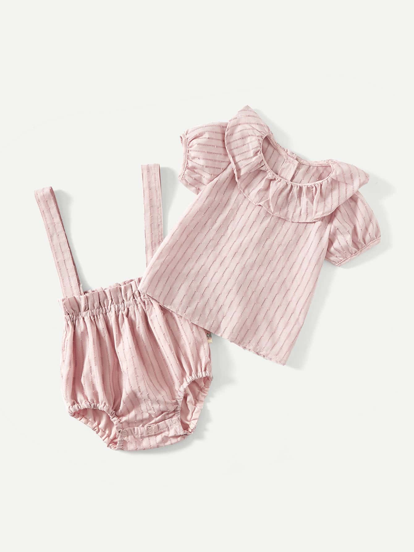 Girls Striped Ruffle Blouse With Overalls 2018 new spring girls children denim jeans jumpsuit overalls pants striped t shirt tracksuit sets for teenagers girls kids 71