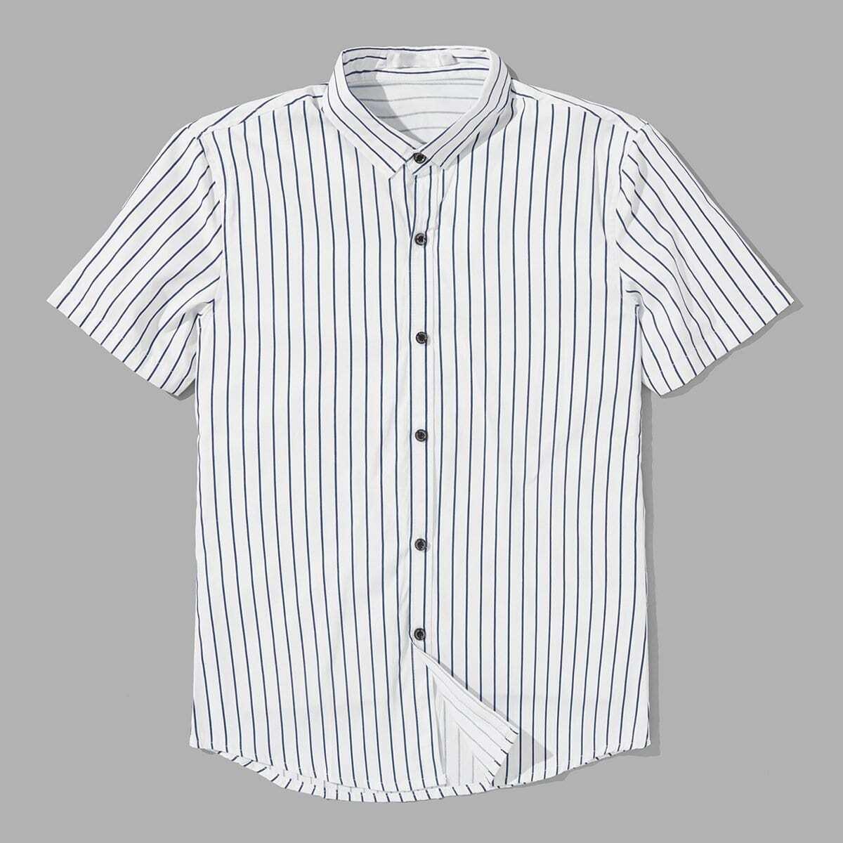 Wit Casual Gestreept Overhemden voor heren Knoop